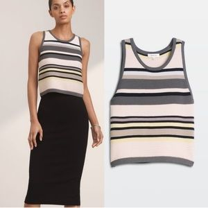 Aritzia Babaton Alrik Striped Ribbed Knit Crop Top